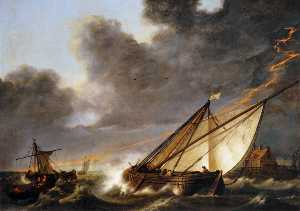 Aelbert Jacobsz Cuyp - Ships Tossed in a Gale