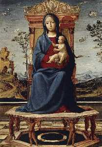 Lorenzo Costa (The Elder) - Virgin and Child Enthroned