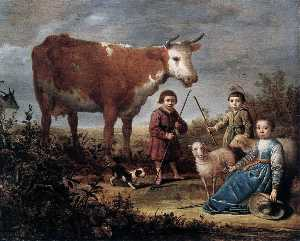 Aelbert Jacobsz Cuyp - Children and a Cow