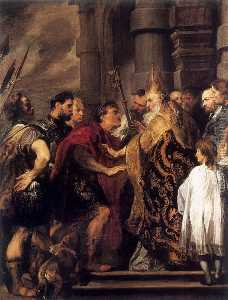 Anthony Van Dyck - Emperor Theodosius Forbidden by St Ambrose To Enter Milan Cathedral