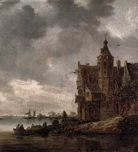 Jan Van Goyen - Country House near the Wa..
