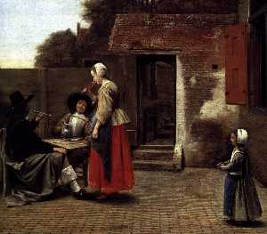 Pieter De Hooch - A Dutch Courtyard (detail)