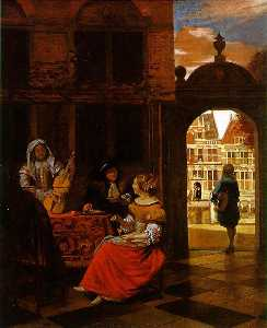 Pieter De Hooch - Musical Party in a Courty..
