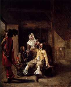 Pieter De Hooch - Two Soldiers and a Serving Woman with a Trumpeter