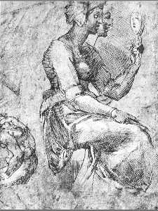 Michelangelo Buonarroti - Study of a Seated Woman