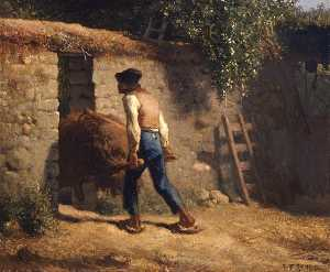 Jean-François Millet - Peasant with a Wheelbarro..