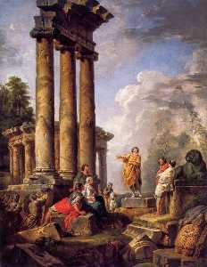 Giovanni Paolo Pannini - Ruins with St Paul Preach..