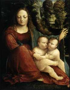 Martino Piazza Da Lodi - Madonna and Child with the Infant St John