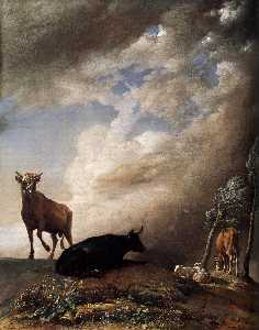 Paulus Potter - Cattle and Sheep in a Stormy L..
