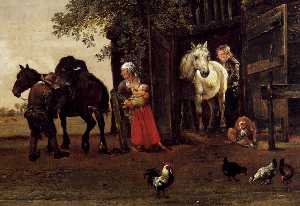 Paulus Potter - Figures with Horses by a Stabl..