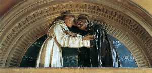 Andrea Della Robbia - Embrace between Sts Francis and Dominic