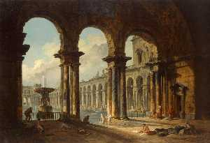 Hubert Robert - Ancient Ruins Used as Pub..