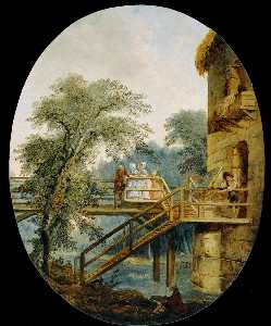 Hubert Robert - The Footbridge