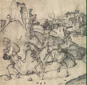 Martin Schongauer - Peasant Family Going to t..
