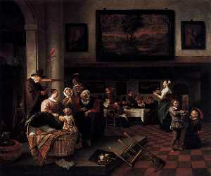 Jan Steen - 'Baptism (''So de oude so..
