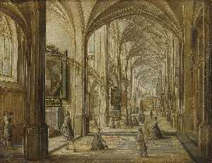 Hendrick Van The Younger .. - Interior of a Gothic Chur..