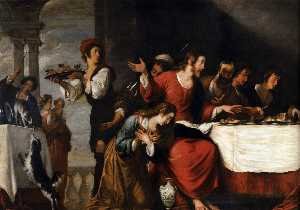 Bernardo Strozzi - Banquet at the House of S..