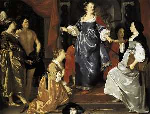 Abraham Van Den Tempel (Abraham Lambertsz) - The Maid of Leiden Welcomes -Nering-