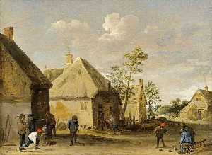 David The Younger Teniers - Peasants Bowling in a Vil..