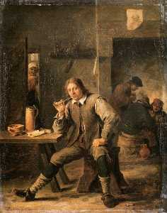 David The Younger Teniers - Smoker Leaning his Elbow ..