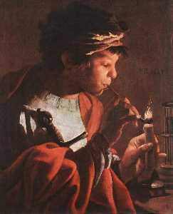 Hendrick Terbrugghen - Boy Lighting a Pipe