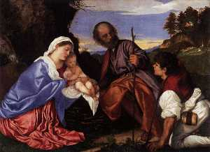Tiziano Vecellio (Titian) - The Holy Family with a Shepherd