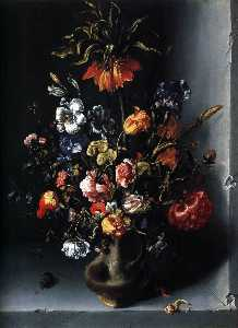 Jacob Woutersz Vosmaer - Still-Life of Flowers with a F..