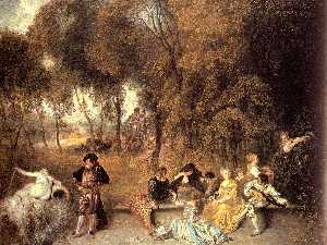 Jean Antoine Watteau - Merry Company in the Open..