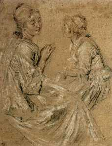 Jean Antoine Watteau - Two Seated Women