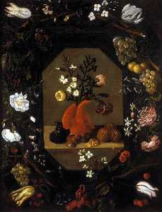Juan Bautista De Espinosa - Still-Life with Flowers with a Garland of Fruit and Flowers