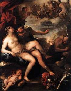 Luca Giordano - Mars and Venus Caught by ..