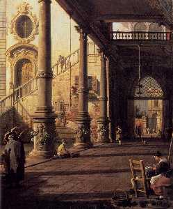 Giovanni Antonio Canal (Canaletto) - Perspective View with Portico (detail)
