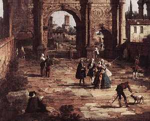 Giovanni Antonio Canal (Canaletto) - Rome: The Arch of Constantine (detail)