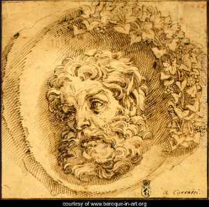 Agostino Carracci - Head of a Faun in a Concave (roundel)