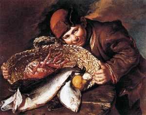 Giacomo Ceruti (Pitocchetto) - Boy with a Basket of Fish