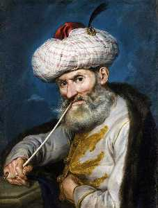 Giacomo Ceruti (Pitocchetto) - Portrait of a Smoking Man in Oriental Habit