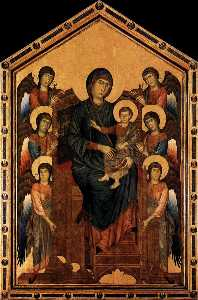 Cimabue - Virgin Enthroned with Ang..