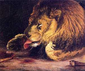 Henry Ossawa Tanner - Lion Licking Its Paw