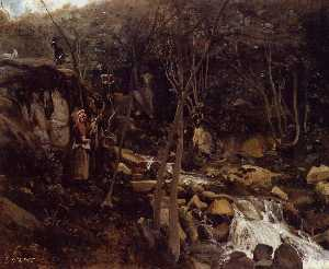 Jean Baptiste Camille Corot - Lormes - A Waterfall with a Standing Peasant, Spinning Wool
