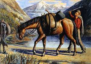 William George Richardson Hind - Pack Horse, Athabaska River, Rocky Mountains