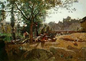 Jean Baptiste Camille Cor.. - Peasants under the Trees ..