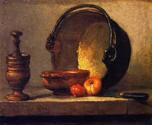 Jean-Baptiste Simeon Chardin - Pestle and Mortar, Bowl, Two Onions, Copper Pot and Kettle