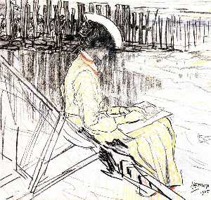 Jean Theodoor Toorop - Portrait of Emma Bellwidt on the Beach at Domburg