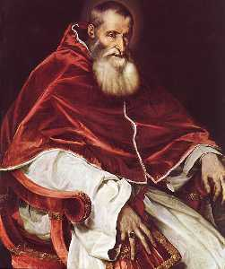 Tiziano Vecellio (Titian) - Portrait of Pope Paul III