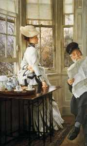 James Jacques Joseph Tissot - Reading the News