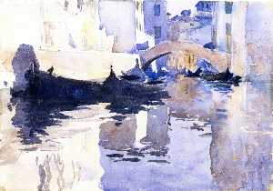 John Singer Sargent - Rio di San-Andrea, Venice (also known as A View of Venice, with Empty Gondolas in a Canal)