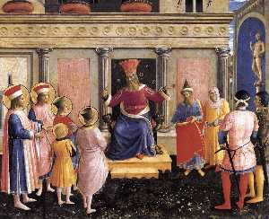Fra Angelico - Saint Cosmas and Saint Damian before Lisius (San Marco Altarpiece)
