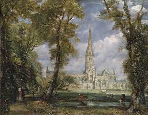 John Constable - Salisbury Cathedral from the Bishop-s Garden
