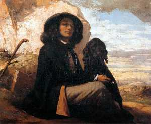 Gustave Courbet - Self-Portrait with a Black Dog