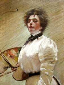 Alice Pike Barney - Self-Portrait with Palett..